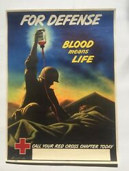 1943 Wwii Era Poster For Defense Blood Means Life American Red Cross