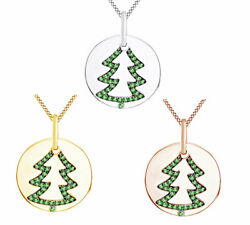 1/6 Ct Green Diamond Christmas Tree Charm Pendant Necklace In Sterling Silver