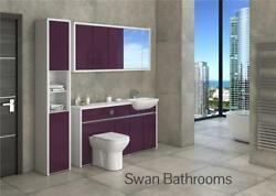 White / Aubergine Gloss Bathroom Fitted Furniture With Wall Units 1900mm