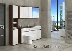 T. Walnut / White Gloss Bathroom Fitted Furniture With Wall Units 1950mm