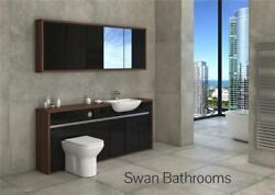 T. Walnut / Black Gloss Bathroom Fitted Furniture With Wall Units 1950mm