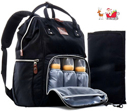 Black Diaper Bag Backpack For Moms And Dads With waterproof money pocket NEW