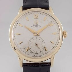 Omega Andomega 14k Yellow Gold Automatic Menand039s Watch Calibre 342 W/ Black Leather Band