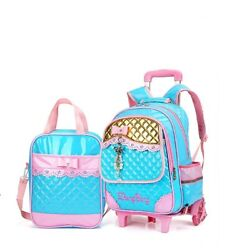 Kids School Bags Trolley Handbag With Lunch Bag Rolling Backpacks For Girls