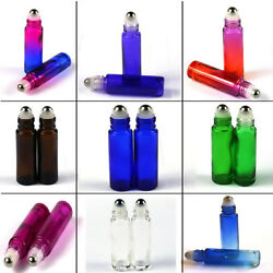 150x 10ml Thick Gradient Roll On Glass Bottles Steel Roller Ball Essential Oils
