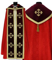 Red Gothic Cope With Stole K559-ac25p Vestment Capa Pluvial Roja Piviale Rosso
