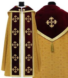 Gold/red Gothic Cope With Stole K559-agc16p Vestment Capa Pluvial Dorada/roja