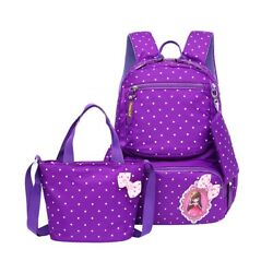 School Bag Polka Dot School Backpack for Girls Kids Book Bags and Handbag Pouch