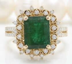 4.26 Carat Natural African Emerald And Diamonds In 14k Yellow Gold Women Ring