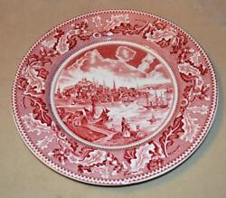 Vintage Johnson Brother Historic America View Of Boston Pink 10d Dinner Plate