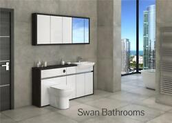 Hacienda / White Gloss Bathroom Fitted Furniture With Wall Units 1650mm