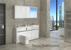 White / White Gloss Bathroom Fitted Furniture With Wall Units 1650mm