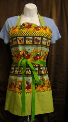 Country Kitchen Farm Animal Reversible Apron, Chickens, Cows, Pigs, Dogs