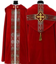 Red Gothic Cope With Stole K113-acap Vestment Capa Pluvial Roja Piviale Rosso