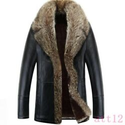 Mens 100% Mink Fur Lining Thicken Leather Casual Warm Parka Trench Jacket Coat