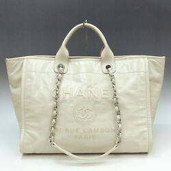 CHANEL Deauville Chain Shoulder Hand Tote Bag Calf Leather Ivory A93257 Used