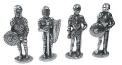 Knights in Armor Miniature Metal Figurines Role Playing Pack 4 Homeschool 1.5H