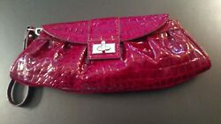 New York Company Faux Croc Red Burgandy Patent Leather Ladies Clutch  Wristlet