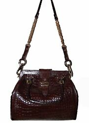 Cole Han Small Red Burgundy Snake Skin Design Women's Handbag Purse Clutch Bag