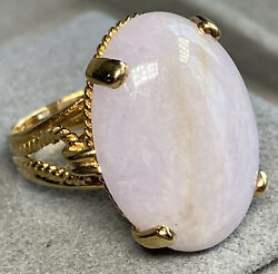 14k Yellow Gold Ring Oval Lavender Jade Cabochon Large Vintage Twisted Ropes