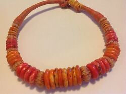 Antique Tibetan Coral Tribal Bead Chinese Very Old Original Necklace M1252