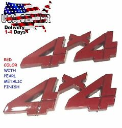 X2 Pieces Red 4 X 4 Quality Emblem 4x4 Truck Old Logo Sign Badge Fit All Cars