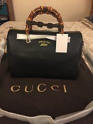 💯% Authentic GUCCI Bamboo Shopper Leather Boston Nero Crossbody Handbag NWT
