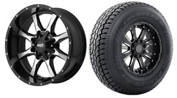 Mo970 17x9 Black Machined Wheels Rims At Tires Package 6x5.5 Chevy Gmc Toyota