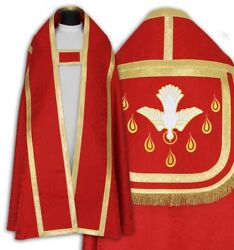Red Roman Cope With Stole Holy Spirit Kt-c25h24 Capa Pluvial Roja Piviale Rosso