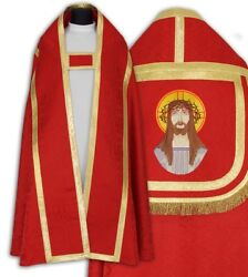Red Roman Cope With Stole Vestment Capa Pluvial Roja Piviale Rosso Ktc25h27