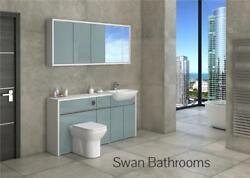 White / Metallic Blue Gloss Bathroom Fitted Furniture With Wall Units 1650mm
