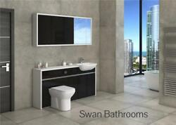 White / Black Gloss Bathroom Fitted Furniture With Wall Units 1650mm