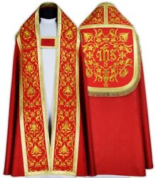 Red Roman Cope With Stole Kt674-c25h23 Capa Pluvial Roja Piviale Rosso Pluviale