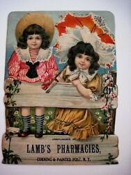 Large Victorian Die Cut Advertising Sign For Lambs Pharmacies W/ Two Girls