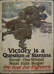 1917 Victory Is A Question Of Stamina Send The Wheat Meat Fats Sugar Wwi Poster