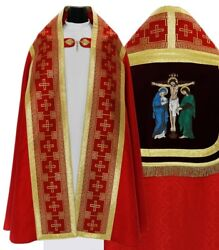 Red Roman Cope With Stole Crucifixion Kt017-ac25h6 Vestment Capa Pluvial Roja