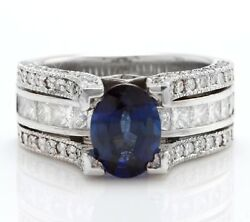 2.75 Carat Natural Blue Sapphire And Diamonds In 18k Solid White Gold Women Ring