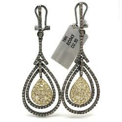 18k Yellow And Black Rhodiumed White Gold With Natural Diamonds Dangling Stud