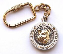 NEW I Love My WEST HIGHLAND WHITE TERRIER Key Chain Ring Purse Charm Collectible