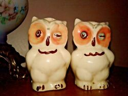 Vintage Antique Owl Salt And Pepper Shakers From Japan