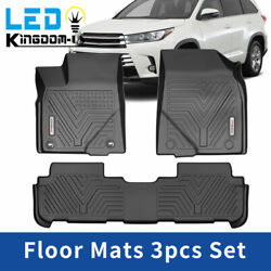 All Weather Floor Mats Rubber Liners For 2014-2019 Toyota Highlander Heavy Duty