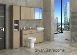 Driftwood / Cappuccino Gloss Bathroom Fitted Furniture With Wall Units 1900mm