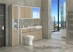 White / Cappuccino Gloss Bathroom Fitted Furniture With Wall Units 1950mm