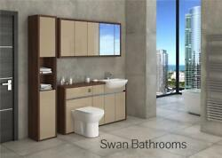 T. Walnut / Cappuccino Gloss Bathroom Fitted Furniture With Wall Units 1950mm