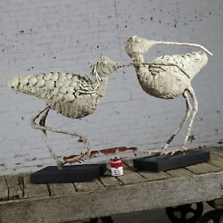 Monumental Shell Encrusted Burlap And Wire Wading Bird Sculptures A Pair