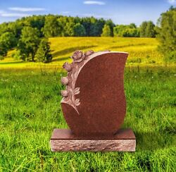 Imperial Red Granite 4 Rose Monument Head Tomb Grave Marker Cemetery Stone Ir-4