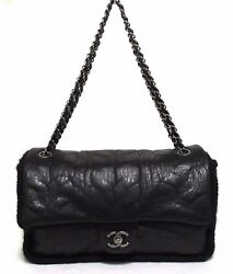 Auth CHANEL Shoulder bag leather Knit Alan pattern Black silver chain (391011)
