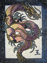 Chinese Ancient Dragon Mythical 36x48 Marble Mosaic An114