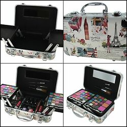 Travel Makeup Bag  And Organizer With Brush & Foreshadows Set Trunk Train Case