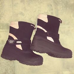 Totes Pink Black Winter Lining Snow Boots Size 4 Girl $8.04